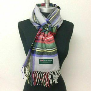Scotland Cashmere Red Forest, Silver Plaid Scarf